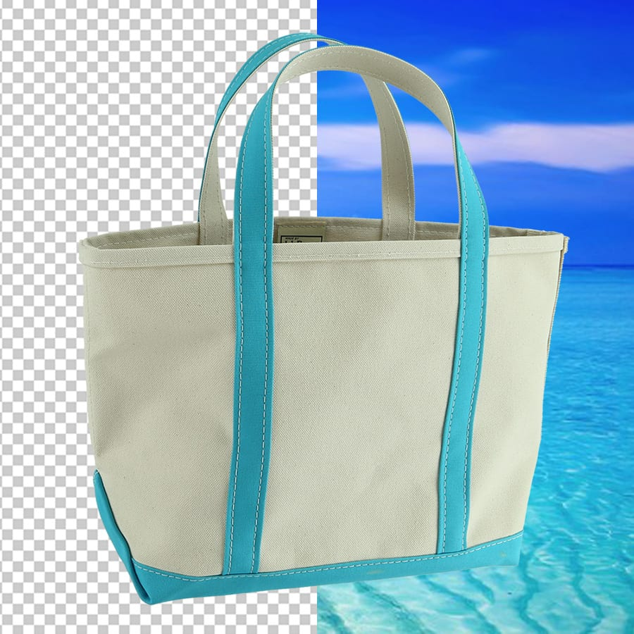 verwijdering van de achtergrond bij het fotograferen van een tas