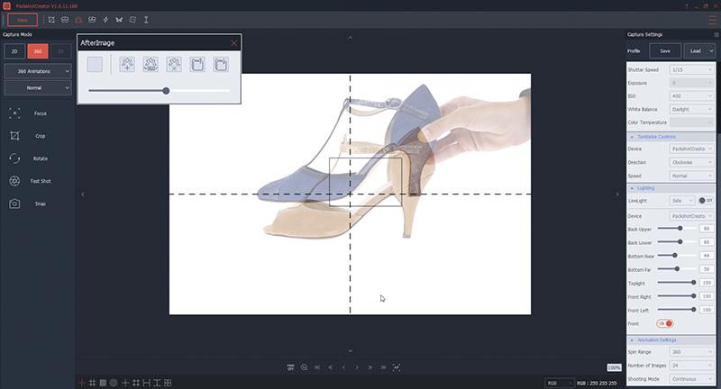 Plaats de schoen in uw fotostudio