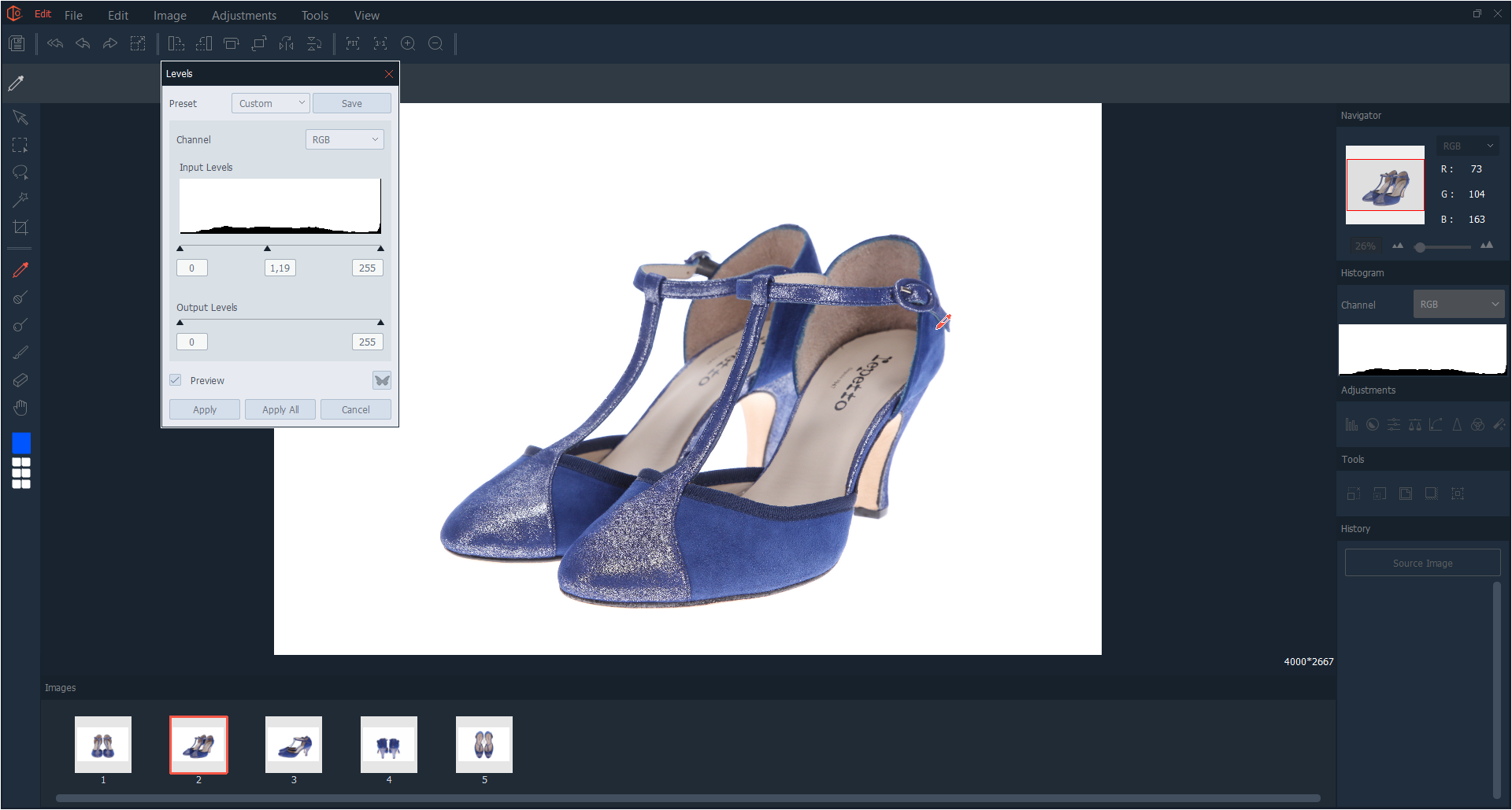 multi-editing of a pair of shoes