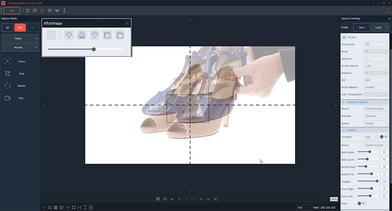 How to create a 360 animation of shoes with a ghost image feature